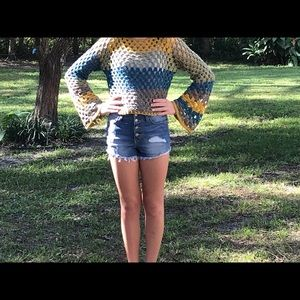 COPY - Handmade crochet sweater with bell sleeves